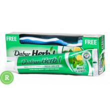 Зубная паста гель Dabur Herb'l с мятой и лимоном плюс щетка 150 грамм